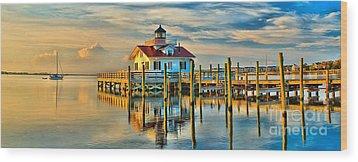 Roanoke Marsh Lighthouse Dawn Wood Print by Nick Zelinsky