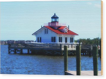 Roanoke Marshes Light 4 Wood Print by Cathy Lindsey