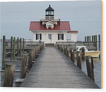 Wood Print featuring the digital art Roanoke Marshes Lighthouse by Kelvin Booker