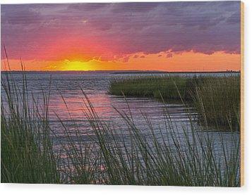 Roanoke Sound Sunset Wood Print by Gregg Southard