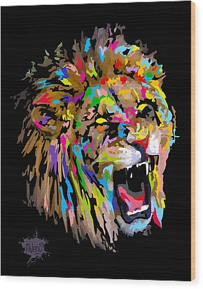 Wood Print featuring the digital art Roar by Anthony Mwangi