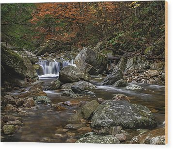 Roaring Brook - Sunderland Vermont Autumn Scene  Wood Print by Thomas Schoeller