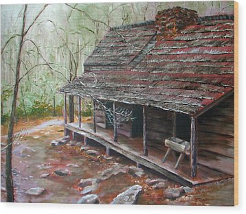 Roaring Fork Cabin Wood Print by Sherry Robinson