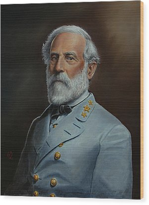 Wood Print featuring the painting Robert E. Lee by Glenn Beasley