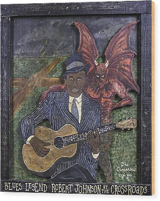 Robert Johnson At The Crossroads Wood Print by Eric Cunningham