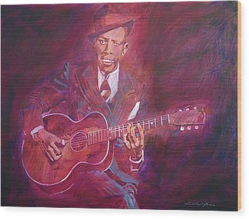 Robert Johnson Wood Print by David Lloyd Glover