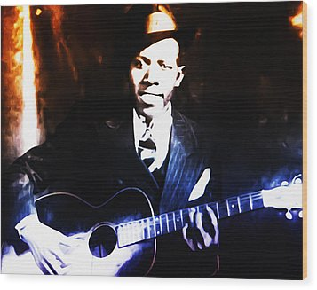 Robert Johnson - King Of The Blues Wood Print by Bill Cannon