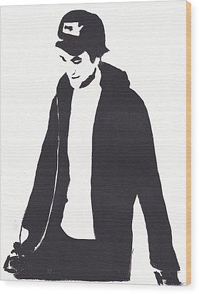 Robert Pattinson 111 Wood Print by Audrey Pollitt
