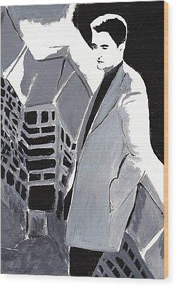 Robert Pattinson 129 Wood Print by Audrey Pollitt