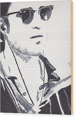 Robert Pattinson 151 Wood Print by Audrey Pollitt