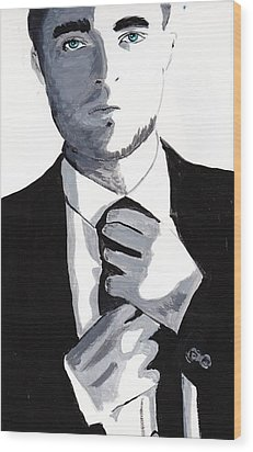 Robert Pattinson 80 Wood Print by Audrey Pollitt