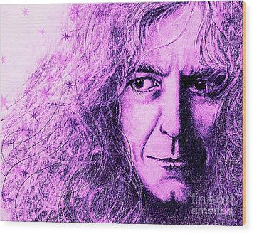 Robert Plant Purple Wood Print