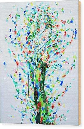 Robert Plant Singing - Watercolor Portrait Wood Print by Fabrizio Cassetta