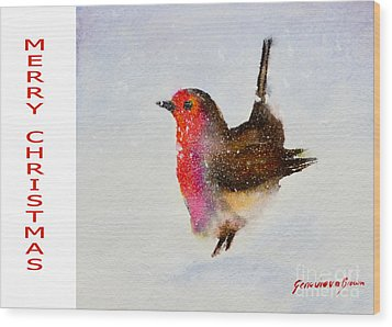 Robin Christmas Card Wood Print
