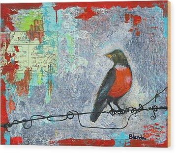 Robin Love Letter  Wood Print by Blenda Studio