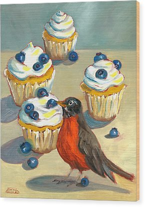 Wood Print featuring the painting Robin With Blueberry Cupcakes by Susan Thomas