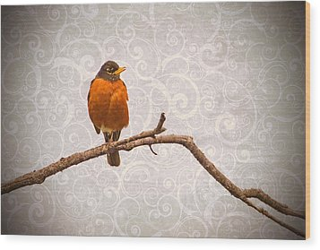 Wood Print featuring the photograph Robin With Damask Background by Peggy Collins