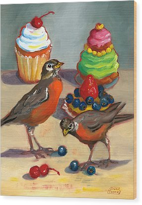 Wood Print featuring the painting Robins And Desserts by Susan Thomas