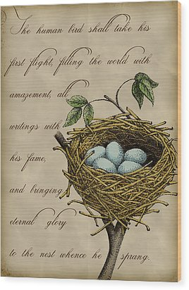 Robin's Nest Wood Print by Christy Beckwith