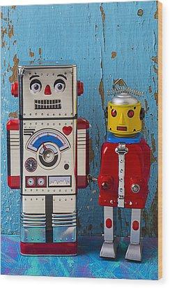 Robot Friends Wood Print by Garry Gay