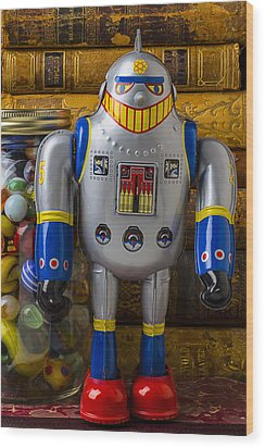 Robot With Marbles And Books Wood Print by Garry Gay