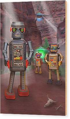 Robots With Attitudes 2 Wood Print by Mike McGlothlen