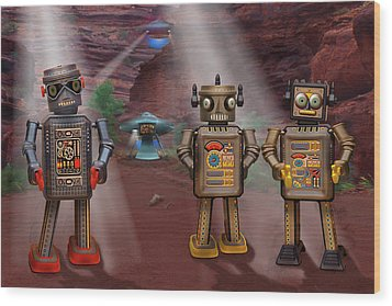 Robots With Attitudes  Wood Print by Mike McGlothlen