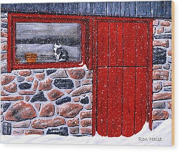Wood Print featuring the painting Rob's Barn by Ron Haist