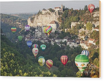 Rocamadour Midi-pyrenees France Hot Air Balloons Wood Print by Colin and Linda McKie