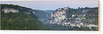 Rocamadour Midi Pyrenees France Panorama Wood Print by Colin and Linda McKie