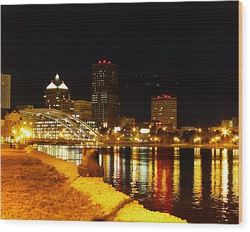 Rochester At Night Wood Print by Tim Buisman