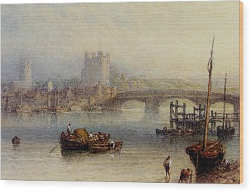 Rochester From The River Wood Print by Myles Birket Foster