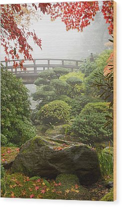 Wood Print featuring the photograph Rock And Bridge At Japanese Garden by JPLDesigns