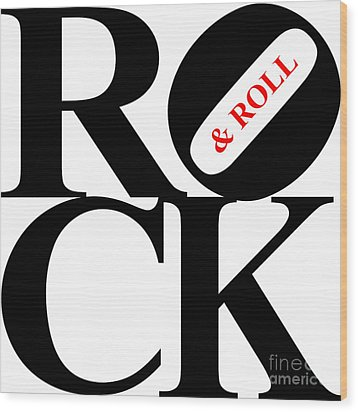 Rock And Roll 20130708 Black White Red Wood Print by Wingsdomain Art and Photography