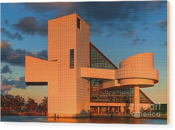 Wood Print featuring the photograph Rock And Roll Hall Of Fame by Jerry Fornarotto