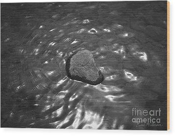Rock And Sun Reflections Wood Print by Dave Gordon