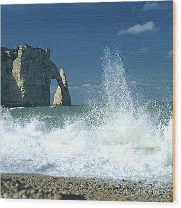 Rock Arch. Etretat. Seine-maritime. Normandy. France. Europe Wood Print by Bernard Jaubert