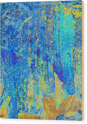 Rock Art Blue And Gold Wood Print