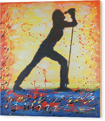 Rock Band Singer Abstract Art Wood Print by Bob Baker