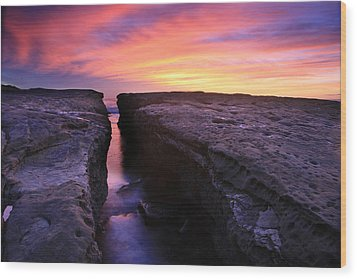 Rock Channel Sunset Wood Print