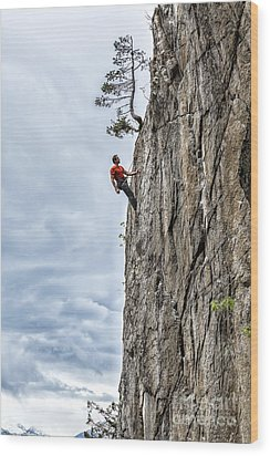 Rock Climber Wood Print by Carsten Reisinger