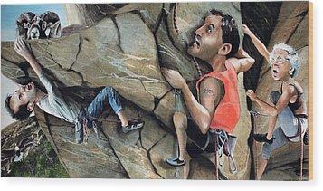Rock Climbers Wood Print by Denny Bond