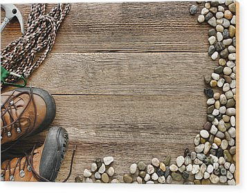 Rock Climbing Background Wood Print by Olivier Le Queinec