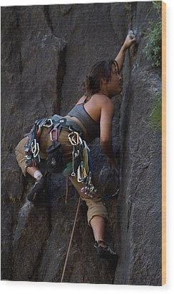Rock Climbing Wood Print by Brian Williamson