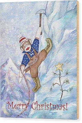 Rock Climbing Sock Monkey Wood Print by Peggy Wilson