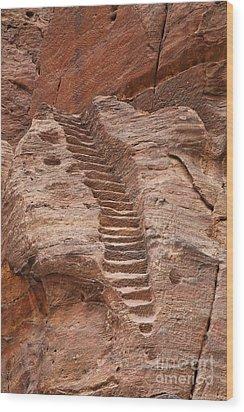 Rock Cut Stairway Of The Street Of Facades Petra Jordan Wood Print by Robert Preston