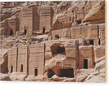 Rock Cut Tombs On The Street Of Facades Petra Jordan Wood Print by Robert Preston
