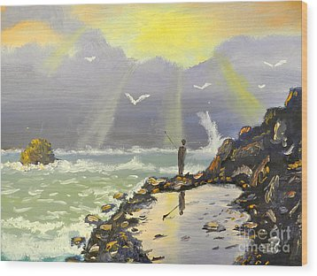 Wood Print featuring the painting Rock Fishing At Wombarra  by Pamela  Meredith
