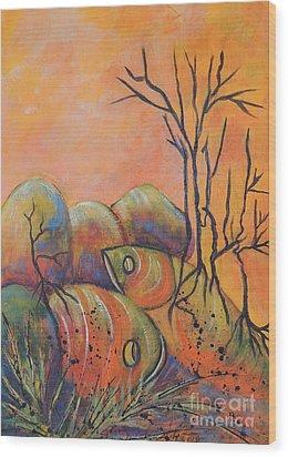 Rock Fishing Wood Print by Lyn Olsen