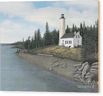 Rock Harbor Lighthouse Wood Print by Darren Kopecky